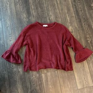 Maroon chenille bell sleeve sweater